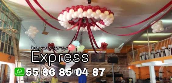Decoraciónes con tela, globos para bodas