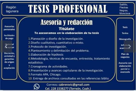 Tesis, asesoría y elaboración